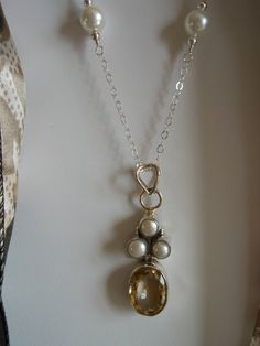 Sterling Silver Citrine and Pearls Necklace by TheButterflyGarden7, $41.50