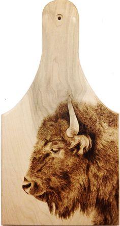 Buffalo Bull  Maple Cheeseboard Pyrography by Alexandra Glueckler