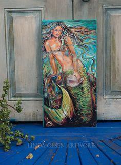 Original Paintings and Photographic Artworks Mermaid Canvas, Mermaid Artwork, Mermaid Paintings, Dramatic Arts, Mermaid Diy, Flow Arts, Mermaids And Mermen, Ocean Art, Cool Art