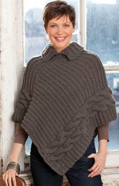 Free Knitting Pattern for Cabled and Collared Poncho - A quick project knit with two strands of yarn together on big needles. Some knitters at Ravelry changed the collar to a turtleneck or left the collar off completely. Knitted Cape, Knitted Shawls, Crochet Shawl, Knit Crochet, Crochet Vests, Crochet Cape, Crochet Edgings, Crochet Motif, Free Crochet