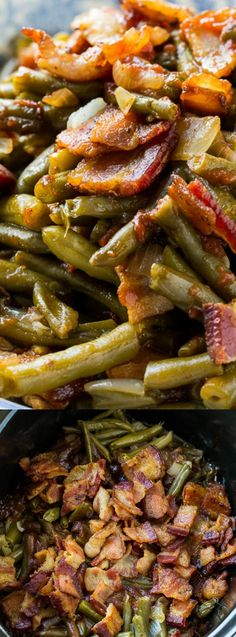 These Slow Cooker Barbecued Green Beans from Spicy Southern Kitchen are sweet and tangy with lots of smoky barbecue flavor. They are a cinch to make and a great side dish for potlucks and family meals!