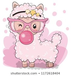 Cute pink alpaca with bubble gum. Cute Cartoon pink alpaca with bubble gum royalty free illustration Illustration Mignonne, Cute Illustration, Kawaii Drawings, Cute Drawings, Cute Cartoon Animals, Cute Animals, Cartoon Mignon, Art Mignon, Llama Birthday