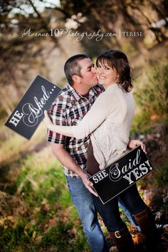 Wedding Photo Prop, he asked, she said yes, engagement photo shoot, wedding day photo prop Mr and Mrs signs on Etsy, $36.95