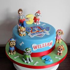 Paw Patrol Cake. All figures handmade and edible. Great fun!