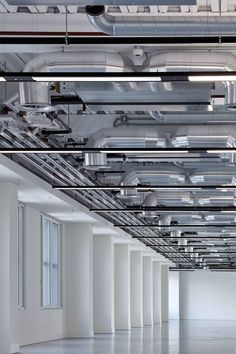 Queen Caroline Street Exposed services Industrial White Interior Design Pattern Ceiling