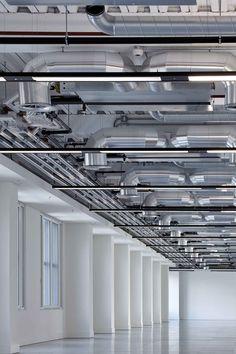 Queen Caroline Street  Exposed services Industrial White Interior Design Pattern Ceiling