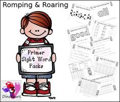 Romping & Roaring Primer Sight Words Packs from 3Dinosaurs on TeachersNotebook.com -  (754 pages)  - Romping & Roaring Primer Sight Word Packs are based on the Dolch Primer sight word list. There are 10 pages of activities per word. Every word has is own pdf to make it easier to find the activity.
