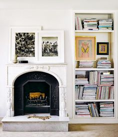 Fireplace and booksh
