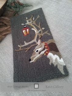 BRIAR COTTAGE STUDIO: Oh What fun! Reindeer punch needle pattern designed by Kate Gillery