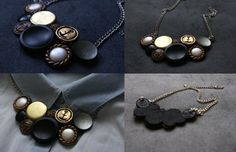 Short necklace - buttons and chain