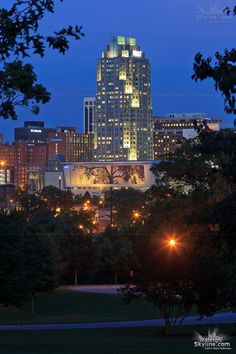 Downtown Raleigh Skyline & the Cree shimmer wall