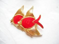 Trifari Fish Brooch Red Enamel Fish Belly Gold Tone Metal Fins Heads School of Fish Fish Lovers Modern Woodland Figural