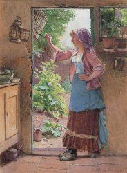 A COUNTRY GIRL STANDING IN A SUNLIT COTTAGE DOORWAY FEEDING A BLACKBIRD  signed and dated 1884 , pencil and watercolour 36.5 x 27cm