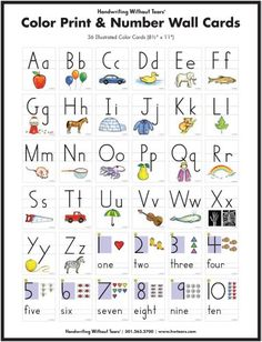 Color Print and Number Wall Cards- Handwriting Without Tears