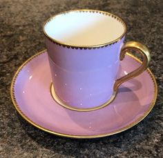 VINTAGE AYNSLEY BONE CHINA COFFEE CUP & SAUCER PINK WITH GOLD GILDING | eBay
