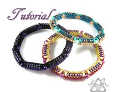 Pdf Tutorial Beadwork Regal Bangle with Super Duo Beads, Pattern, Instructions. English Only,