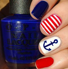 Red and blue nautical nails