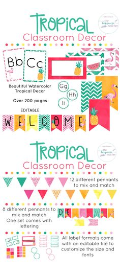 Tropical Classroom Decor   Fully Editable  Bring a little color and flair into your classroom! This set comes with so many different colors, styles, and clipart for you to customize your classroom ( over 200 pages! ). Created to allow you to mix and match your favorite colors to bring a little island breeze into your room. All templates come in an editable format to make your own names tags, locker tags, labels, signs, class posters, banners and more!