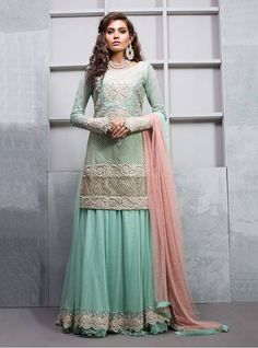 Pakistani Engagement Dresses For Brides In 2020 Pakistani Engagement Dresses, Engagement Dress For Bride, Pakistani Outfits, Indian Outfits, Sharara Designs, Choli Designs, Frock Design, Party Wear Frocks, Party Dress