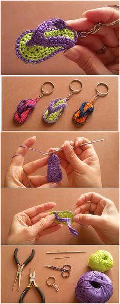 Keychain Flip Flops Slippers Sandals Free Crochet Tutorial Crochet Throw Pattern, Crochet Patterns, Crochet Flip Flops, Crochet Barefoot Sandals, Little Presents, Flip Flop Slippers, Slipper Sandals, Bare Foot Sandals, Diy Home Crafts