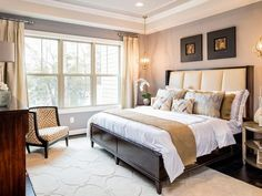 Traditional Master Bedroom with Humphrey Bogart Stephen's Upholstered Bed
