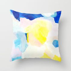 Summer brights abstract 2 Throw Pillow by saryart Yellow Throw Pillows, Modern Throw Pillows, Blue And White, Pink Yellow, Decor Styles, Bright, Abstract, Summer, Pattern