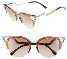 These Fendi crystal 52mm tipped cat sunglasses are calling your name for Coachella!