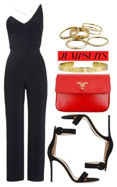 """One and Done: Jumpsuits"" by vany-alvarado ❤ liked on Polyvore featuring Cushnie Et Ochs, Gianvito Rossi, Prada, Cartier, Kendra Scott and jumpsuits"