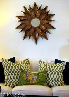 cottage and vine: Sunburst Mirrors - $150 or Less Make w/ milkweed pods?