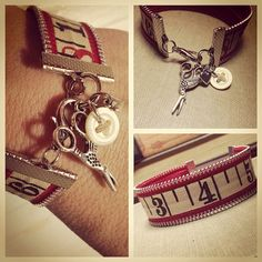 $24 Zipper Bracelet with vintage measuring tape and by JagCagDesign