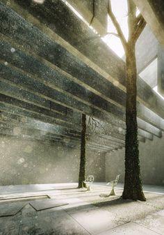"Giona Andreani , reinterpretation of the Norwegian pavilion at ""Biennale di Venezia"" Pavilion Architecture, Space Architecture, Architecture Drawings, 3d Architectural Visualization, Architecture Visualization, Image 3d, Interior Rendering, Interior Design, Design Art"