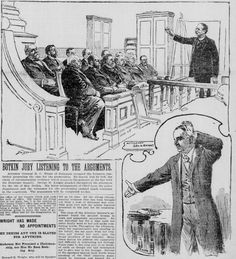 Delaware Attorney General R. C. White (top) presents the case for the prosecution in the murder trial of Cordelia Botkin in San Francisco. Illustration from the 29 December 1898 San Francisco Call.