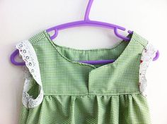 Another of my designs on ETSY  SALE Girls Green Gingham Cotton Dress  Size 6 by cutonthebias76, $11.00