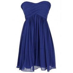 Night To Remember Strapless Chiffon Designer Dress in Bright Blue- it's even more amazing in real life!!