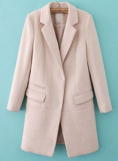 Beige Notch Lapel Long Sleeve Pockets Coat - Sheinside.com