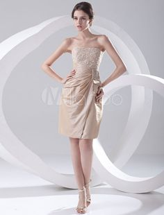 Champagne Cocktail Dress Knee-Length Strapless Sheath Rhinestone Ruched Taffeta Dress
