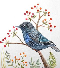 Black Starling Red berries wall art, print from original watercolor painting by Elina Lorenz. Beautiful.