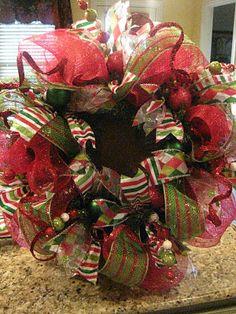 Kristen's Creations: Christmas Mesh Wreath Tutorial...a faux pine wreath is the base
