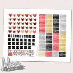 Date cover planner stickersRed hearts date cover by MeeDigiScrap