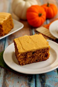 This Pumpkin Spice Cake with Pumpkin Cream Cheese Frosting bakes up soft, moist, and full of fall flavors.