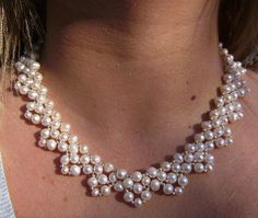 Creamy Ivory Fresh Water Pearl Collar Necklace by ArtfullyDecadent, $65.00