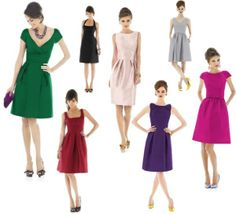 Alfred Sung vintage style bridesmaid dresses