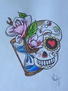 Skullcandy Sugar skull tattoo Magnolien