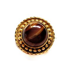 Vintage Art Glass Brooch, Gold Amber Pin