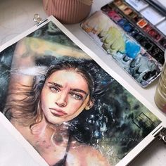 Anatomy study and drawings - Today Pin Watercolor Portraits, Watercolor Paintings, Gold Watercolor, Arte Sketchbook, Drawn Art, A Level Art, Art Hoe, Ap Art, Types Of Art