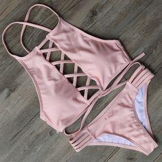 Pink High-Neck Cut-Out Bikini (£27) ❤ liked on Polyvore featuring swimwear, bikinis, bikini swimwear, pink swimwear, bikini swim wear, high neck bikini and bikini two piece