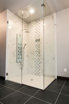 Tile Shower with Grey and Black Mosaic Accents and Marble Tile Shower Walls Shower Walls, Shower Doors, Tiled Showers, Backsplash, Modern Farmhouse, Bathroom Ideas, Bathrooms, Mosaic, Marble