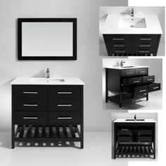Artifical Stone Top Single Sink Bathroom Vanity with Matching Mirror | Overstock.com