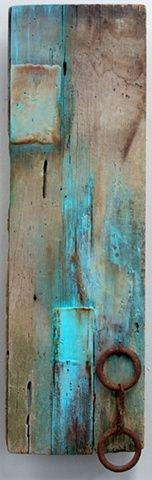 Barn Series 20 // Micki Buksar - encaustic and metal on barn wood