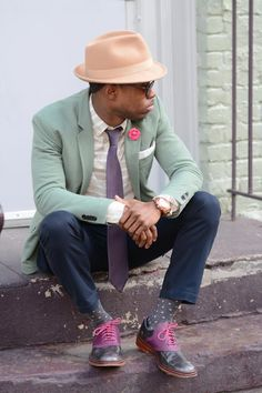 Muted palette hat, brogues and jacket combination